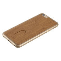 Wood Grain Leather Skin Vertical Card Slot PC Phone Cover for iPhone 6s / 6