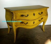 Mahogany French Bombay Chest of Drawers Yellow Burst Antique Color Furniture