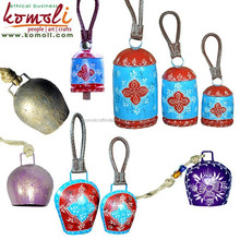 Home and Garden Decor - wholesale cow bells iron metal cowbell with leather strap or rope - custom sizes, color Swiss Cow Bell