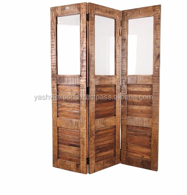 Wooden Glass Room Divider