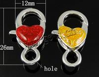 Zinc Alloy Lobster Clasp Heart enamel mixed colors nickel lead & cadmium free 26x12x7.5mmm Hole:Approx 4mm Sold By PC