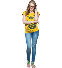 2015 New arrival wholesale garments customize made women top yellow elegant print fashionable hot t-shirt for girls