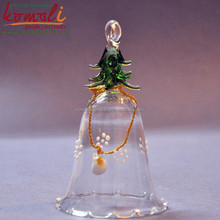 Transparent Blown working Glass Christmas Ornament, Glass Bell, lamp working ornament christmas bell - with tree on top