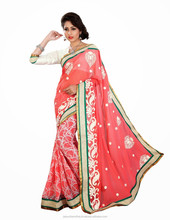 Indian Red Faux Georgette color Saree From India