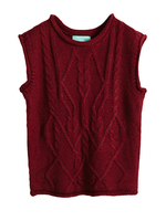 Simple O Neck Sleeveless Cropped Sweater