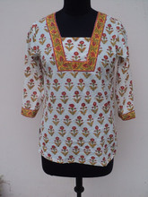 Girls wear top's & tunic blouses / 100% cotton ladies garments / hand block printed top's