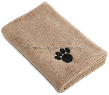 Microfiber Pet Towel With Embroidered Paw