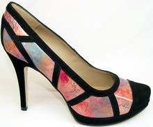 PUMPS WITH HIGH HEEL AND PLATFORM WITH ITALIAN MULTICOLOR LEATHERS