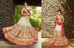 Heart throbbing Cream Bridal Designer Lehenga