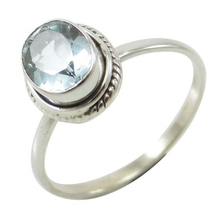 Blue Topaz Gemstone Ring 925 Sterling Silver Indian Fashion Jewellery Gift For Her SJR5711A