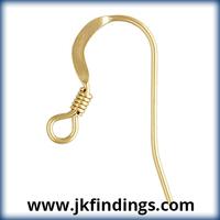 1/20 14K Gold Filled Jewelry Findings Ear Wire Flat w/Coil (0.61mm)