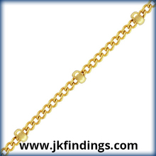 1/20 14K Gold Filled Jewelry Findings Curb Chain w/Bead Footage (1.2mm) GP