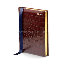 Croco Pattern Cowhide Leather Diary Cover Notebook