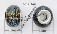 Silver Plated Double Core Lampwork Beads antique silver color plated cupronickel double core without & mixed Hole:Approx 5mm 30