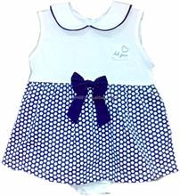 Infant Baby Girl Clothes - Girls 2pc Panty Set Navy w/Big White Dots Print