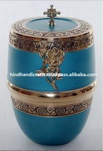 Solid Brass Cremation Urns With Beautiful Design on Lid Jesus Cross of Brass