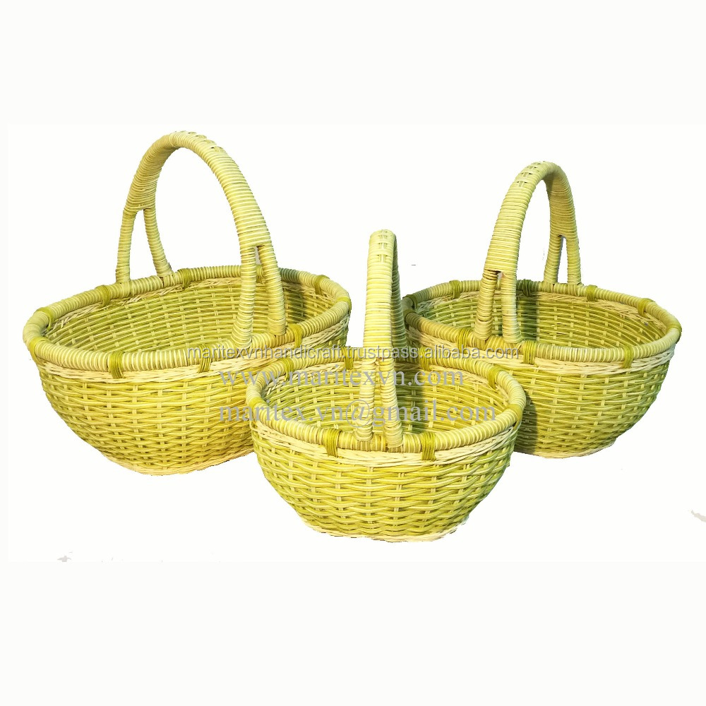 Gift Basket Making Materials : Oval rattan basket with handle natural material