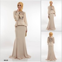 ALL398 2015 New Fashion Exclusive Hot Selling Long Sleeve Turkish Evening Dress