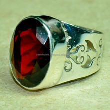 Engagement Silver Ring Garnet Gemstone, 925 Sterling Silver Ring, Wholesale Gemstone Silver Ring SER3812