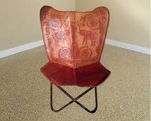 Genuine Leather Chair,BKF/Butterfly Chair, Emboss Leather Designing.
