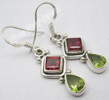 925 Sterling Silver Amazing GARNET & PERIDOT Gem INDIAN JEWELRY Earrings 3.5 CM