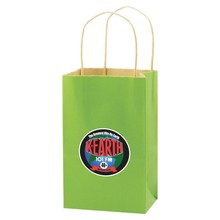 """USA Made Solid Tinted Kraft Shopping Bag - made of kraft paper, dimensions are 5.25"""" x 3.25"""" x 8.5"""" and comes with your logo."""