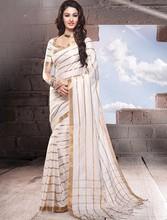 Colourful indian cotton golden zari saree with designer pallu with blouse piece