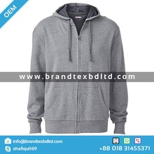 Men's Hooded Jacket Grey Marle zipped Sweatshirt fashionable 2015 casual outerwear cheap wholesale plain solid dyed