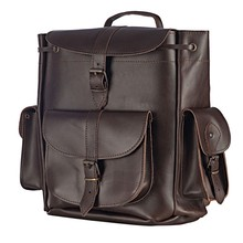 Genuine Leather Backpack Handmade LARGE Size in Dark Brown Color
