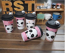 HOT Wholesale Ceramic Milk Mug Cups with a cute panda head cover children and ladies favorite cover drinkwear