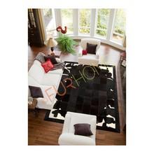 PATCHWORK COWHIDE RUG genuine leather fur K-1701 BLACK BROWN WHITE