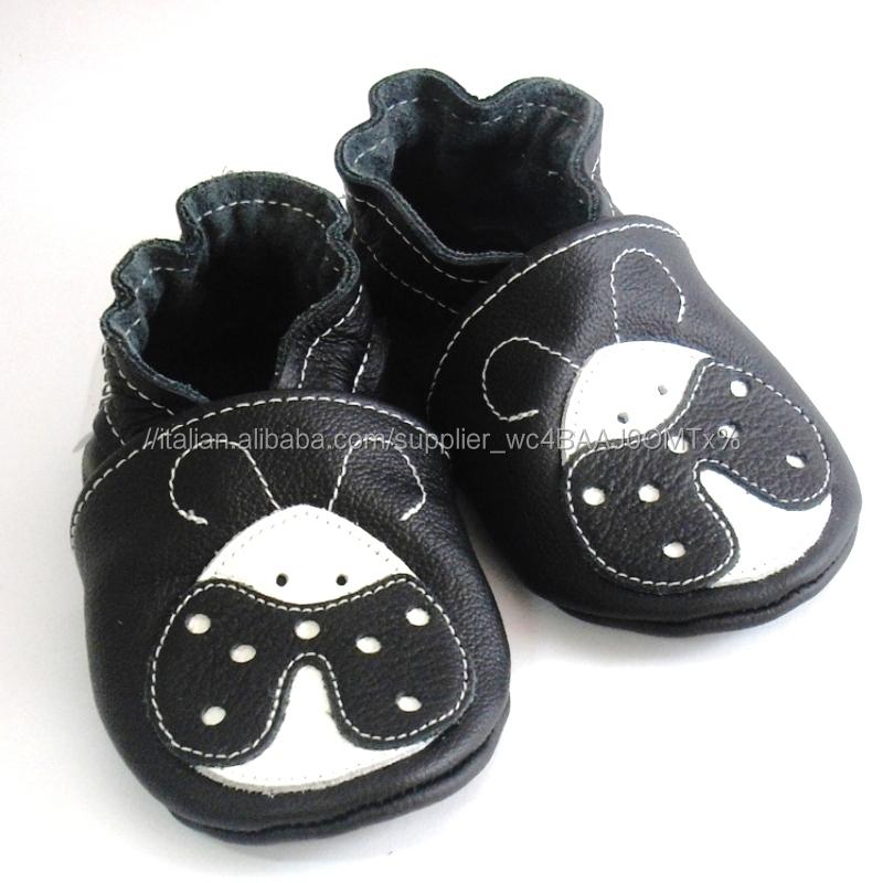 Pattini di bambino suola morbida nero bianco coccinella ebooba