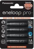 Panasonic Eneloop PRO rechargeable battery Ni-MH R6 AA BK-3HCDE 2550 (min. 2500) mAh HR6 MIGNON BLISTER /4pcs