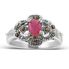 Brilliant Cut Oval Red Corurdum Gemstone Ring Oxidized .925 Sterling Silver Unisex Fashion Gift Jewelry