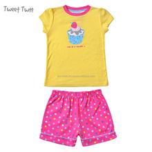 2PCS Set Short Sleeve Cotton Cut Girls Cupcake Fancy Pajamas