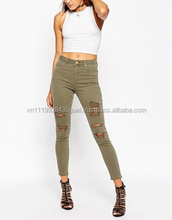 Skinny Distressed slim famous brand designer 100% cotton fabric jeans for women