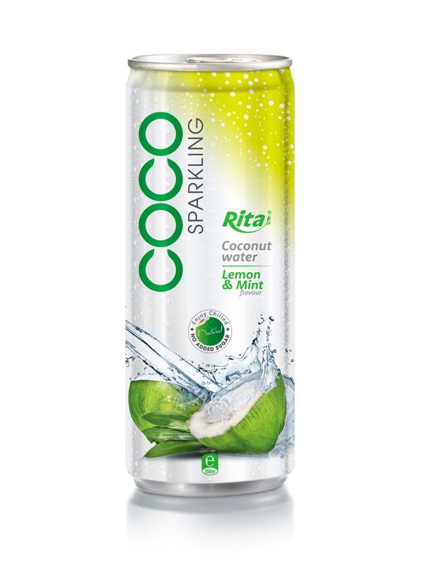 250ml Lemon & Min flavor Sparkling Coconut Water.jpg