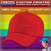 wholesale boys red printed cotton caps