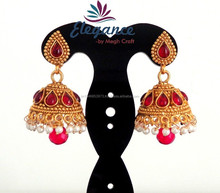 INDIAN ETHNIC BRIDAL EARRING-SOUTH INDIAN JHUMKA EARRINGS WHOLESALE-ONE GRAM GOLD PLATED EARRING