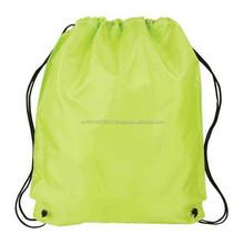 Lime Nylon Foldable Polyester Drawstring Bag For Shopping Vietnam Supplier