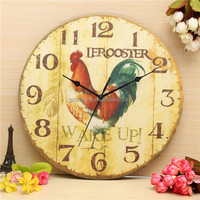 Noiseless Modern Design Round Large Wall Clock French Farmhouse Cock Vintage Rustic Home Office Cafe Bar Decoration