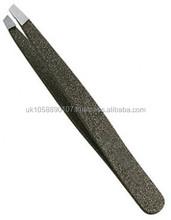 Textured Black Eyebrow Tweezers (slant tip)/Precision quality eyebrow tools