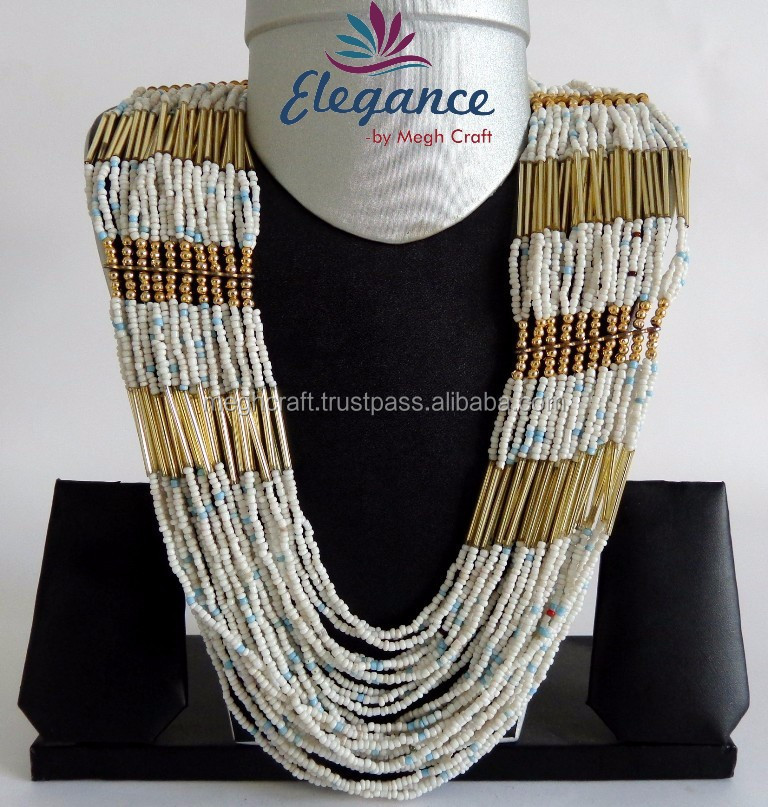 PEARL HANDMADE BEADED JEWELRY-PARTY WEAR PEARL LONG NECKLACE SET-IMITATION COSTUME JEWELRY