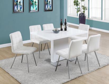 Moderne plateau en verre table manger ensemble avec 6 chaises blanc peint plateau en verre - Chaises pour table en verre ...