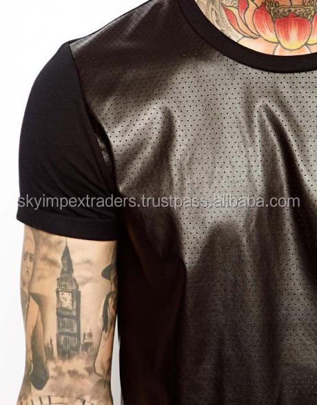 Custom leather sleeves t shirt wholesale plain long sleeve for Long sleeve tall t shirts wholesale