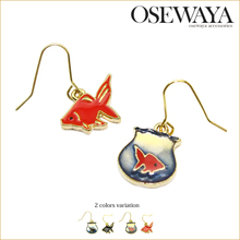resin charm earrings with unique gold fish for women