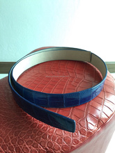 Genuine Siamese Crocodile Belly Skin Belt Blue Color