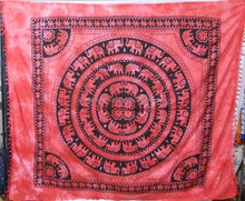 Tie dye indian tapestry mandala round elephant red design, bedcovers bed sheet