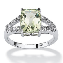 Genuine Green Amethyst and Diamond Accent Ring in Platinum Over 925 Sterling Silver Ring