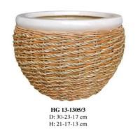 Weaving ceramic plastic rope flower pots for wholesale HG 13-1305/3